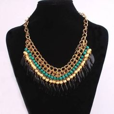 Bohemian Style Multilayer Drop Beads Pendant Tassel Choker Necklace - US$2.83
