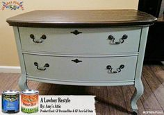 Amy's Attic, https://www.facebook.com/amy.evans.attic?fref=ts, went with the ever popular combo of General Finishes Persian Blue Milk Paint and Java Gel Stain on this lowboy dresser. #generalfinishes #gfmilkpaint #javagel