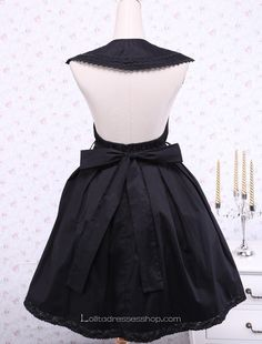 Black Cotton Round Neck Sleeveless Gothic Lolita Dress