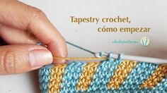 Tapestry crochet, getting started. Tutorial which shows the basic steps for practicing tapestry crochet for making color-work with our crochet hook. Work a small sample to carry and wrap an additional color and then make color changes to form a pattern. Baby Blanket Crochet, Crochet Baby, Knit Crochet, Tunisian Crochet, Crochet Stitches, Love Crochet, Crochet Hooks, Crochet Crafts, Crochet Projects