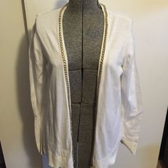 White cardigan White cardigan with gold ⛓chain link trim.  Unique accent; seldom worn.  Very good condition Merona Sweaters Cardigans