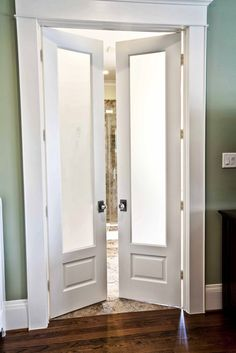 We need doors like this between our master bedroom and our bath. Cedar Hill Ranch: New Craftsman Home Photo Shoot