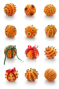 Picture of Spiced orange pomander balls, scented christmas decoration stock photo, images and stock photography. Christmas Makes, Christmas Holidays, Christmas Ornaments, Christmas Candles, Scandinavian Christmas, Modern Christmas, Deco Orange, Christmas Table Decorations, Orange Decorations
