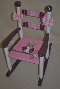 Childrens Custom Hand Painted Girls Owl Pink and Brown Rocking Chair - Baby Shower Gift, Nursery Furniture, Painted Child Chair, Baby Gift Hand Painted Furniture, Funky Furniture, Nursery Furniture, Kids Furniture, Furniture Makeover, Furniture Decor, Furniture Design, Rocking Chair Nursery, Childrens Rocking Chairs