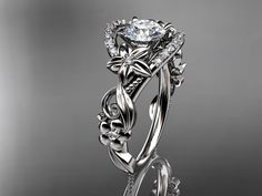14kt white gold diamond unique engagement by anjaysdesigns on Etsy, $1475.00