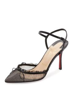 cef4913ae S0HCC Christian Louboutin Travalata Lace Ankle-Strap Red Sole Pump