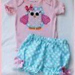 Whimsical Owl Applique Onesie and Bloomers Set owl spring bloomers applique pink onesie