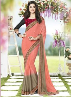 Latest Pink And Grey Shaded Georgette Patch Border Work  Saree http://www.angelnx.com/Sarees/Designer-Sarees