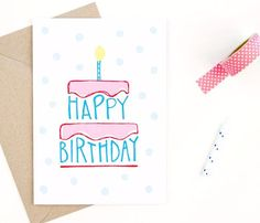 "Hand-drawn design printed on recycled, post-consumer paper. Comes with envelope. Outside: ""Happy birthday"" Inside: Blank for birthday wishes Dimensions: 5 inches x 7 inches. Bday Cards, Happy Birthday Cards, Birthday Wishes, Birthday Gifts, Cake Birthday, Drawn Birthday Cards, Birthday Invitations, Birthday Quotes, Birthday Greetings"