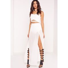 Layer Detail Maxi Skirt White ($2.64) ❤ liked on Polyvore featuring skirts, ankle length white skirt, double layer skirt, long white skirt, floor length white skirt and layered maxi skirt