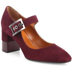 Aquatalia Elsie Suede Mary Jane Block-Heel Pumps (£495) ❤ liked on Polyvore featuring shoes, pumps, apparel & accessories, almond toe pumps, ankle strap pumps, mary jane shoes, cushioned shoes and block heel shoes
