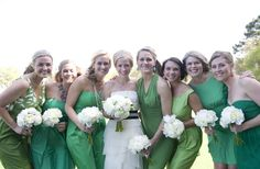 Mismatched green dresses
