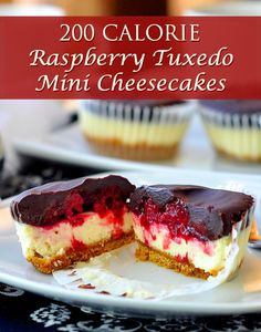 200 CALORIE Raspberry Tuxedo Mini Cheesecakes. Forget roses for #ValentinesDay, give your sweetheart a dozen of these!..which is exactly what the recipe makes! #cheesecale #lowcalorie #lowcaloriesnacks