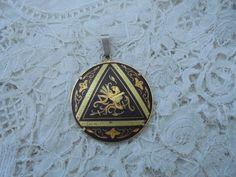 Vintage damascene pendant by Nkempantiques on Etsy