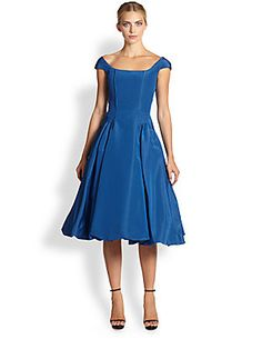 Oscar de la Renta Silk Faille Bubble-Hem Dress