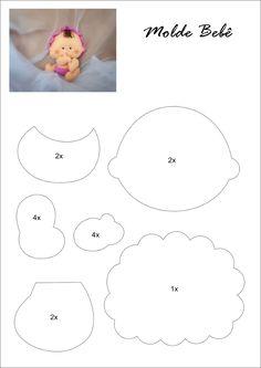 Bebê em Feltro - Moldes lindos e delicados de bebês em feltro para você mesmo fazer a decoração e lembrancinhas para seu bebê!