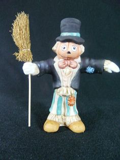 Vintage Scarecrow Pumpkin Head Figurine by Joan Berg Victor for Flambro