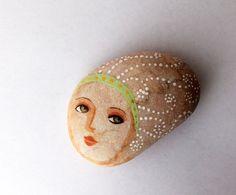 Painted stone. painted pebble. Beach pebbles art by sabiesabi, $28.00