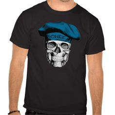 Black and white culinary skull wearing traditional, puffy, blue chef hat.