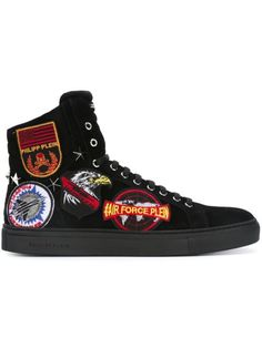 PHILIPP PLEIN Patched Hi-Top Sneakers. #philippplein #shoes #sneakers