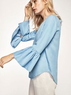 Autumn winter 2016 Women´s RELAXED SHIRT WITH RUFFLED SLEEVES at Massimo Dutti for 4990. Effortless elegance!