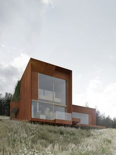 Situated at a hillside in Chodziez, this house designed by Polish architectural firm DE.MATERIA, wholly cladded with corten steel and featuring huge glass Architecture Building Design, Garden Architecture, Sustainable Architecture, Contemporary Architecture, Box Houses, Corten Steel, Modern Buildings, Architect Design, Modernism