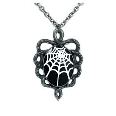 Dysfunctional Doll Spider Web Cameo Necklace With Thorn Vine Base : Pendants & Necklaces