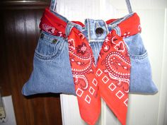 bluejean purse made from small childs jeans