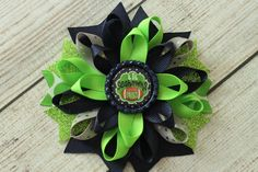 Seahawks Hairbow- Seattle Seahawks Boutique Hairbow, Seattle Seahawks Headband, Seattle Seahawks Hair Clip,  Little Seahawks Fan Hairbow by MaddieHatterBowtique on Etsy