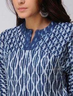 Indigo Dabu-printed Handwoven Cotton Kurta Salwar Neck Designs, Kurta Neck Design, Neck Designs For Suits, Neckline Designs, Kurta Designs Women, Dress Neck Designs, Designs For Dresses, Blouse Designs, Printed Kurti Designs