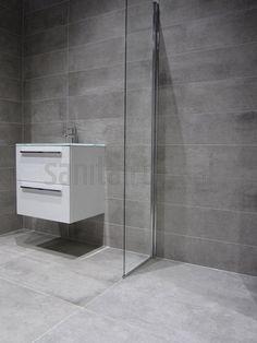 Betonlook badkamer, inloopdouche, badkamer tegels grijs, badkamermeubel, badkamer ideeen, badkamer inspiratie