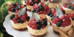 These whipped yogurt fruit tarts are the perfect treat! Combining easy to make tarts with a deliciously creamy whipped yogurt centre and topped with fresh berries and zesty lemon. Easy Mini Cheesecake Recipe, Mini Cheesecake Bites, Mini Cheesecakes, Raspberry Cheesecake, Oreo Cheesecake, Dessert Party, Dessert Shots, Tart Recipes, Dessert Recipes