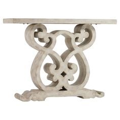 Showcasing an ornately scrolling base, this elegant console table brings classical appeal to your entryway or living room.    Prod...