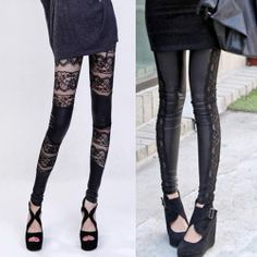 Free shipping sexy lace leggings  faux leather patchwork legging
