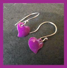 Enamelled Purple Heart Earrings £12.00