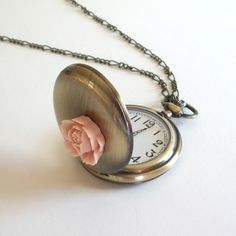 Antique Brass Pocket Watch Necklace With Pink Rose