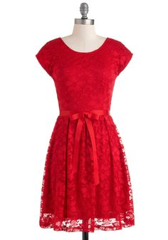 Mariachi Knows Best Dress - Red, Lace, Party, A-line, Short Sleeves, Belted, Pleats, Mid-length, Holiday, Winter