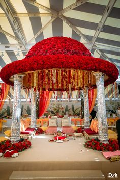 Red Roses Wedding Mandap | Roshni + Rohan | Indian Wedding Blog | Think Shaadi