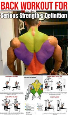Muscle-Building Back Workout To Build Back Muscles Fast Lat Workout, Back Workout Men, Chest Workout Women, Gym Workouts For Men, Gym Workout Chart, Gym Workout Videos, Biceps Workout, Strength Training Workouts, Fun Workouts