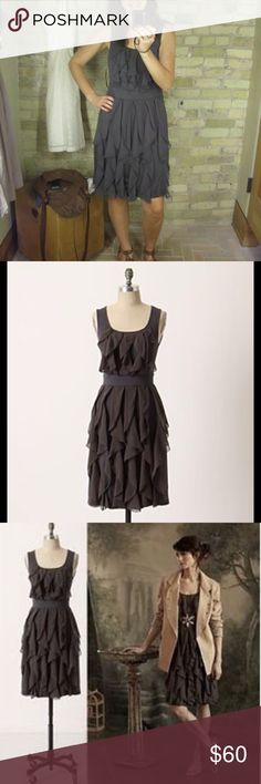 ANTHROPOLOGIE Rising Vapor Gray Ruffle Dress ANTHROPOLOGIE Rising Vapor Gray Ruffle Dress size XS by Ric Rac. Super stretchy jersey material and chic chiffon ruffles. Just the perfect amount of girly and flirty. Anthropologie Dresses
