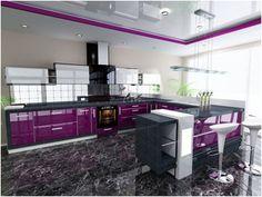 Stunningly Beautiful Purple Kitchen Designs - Home Interior Designs Purple Kitchen Interior, Purple Kitchen Cabinets, Purple Kitchen Designs, Interior Design Kitchen, Purple Home, Kitchen Styling, Kitchen Decor, Küchen Design, House Design