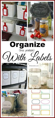 Organize with Free Printable Labels. You can arrange your things in the best system of bins, baskets, and jars, and still have a hard time finding everything afterwards if you don't have your containers labeled! | DIY Organizing Ideas
