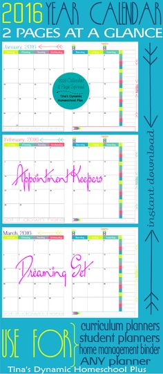2016 Physical Year Calendar. 2 Pages at a Glance in color calendars for homeschool planner or any kind of planner @ Tina's Dynamic Homeschool Plus