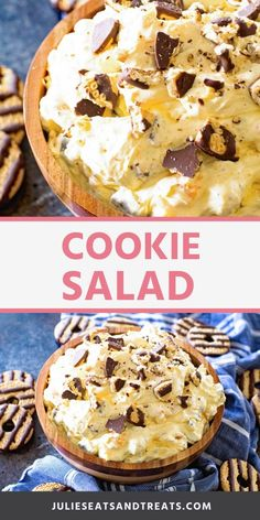 Cookie Salad is a delicious, light and fluffy dessert salad that is only 5 ingredients. Crushed up Fudge Striped Cookies, Vanilla Pudding, Cool Whip, Mandarin Oranges make it the BEST fluff salad recipe! Fluff Desserts, Köstliche Desserts, Delicious Desserts, Dessert Recipes, Yummy Food, Bar Recipes, Summer Desserts, Fruit Recipes, Salad Recipes