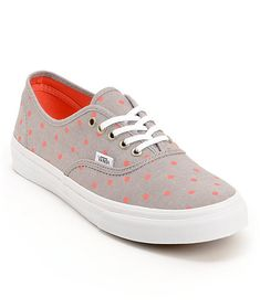 Keep your style classic in the Vans Authentic Slim Grey Chambray polka dot shoes for girls. These Authentics come in an allover Grey Chambray colorway with Neon Coral polka dots throughout and feature timeless low top silhouette with an all canvas upper,