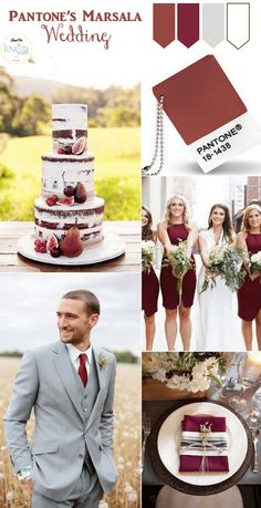 Wedding Trends Pantone Marsala Wedding Inspiration - Color of the Year 2015 Burgundy Wedding, Red Wedding, Fall Wedding, 2015 Wedding Trends, Wedding 2015, Wedding Themes, Wedding Styles, Wedding Decorations, Wedding Cakes