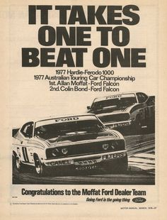 1977 A great year for Ford advert Australian Muscle Cars, Aussie Muscle Cars, Car Ford, Ford Trucks, Ford Ecosport, Ford Falcon, Falcon 1, Ford Raptor, Ford Jokes