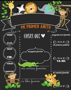 Invitación de jungla, animales, selva MI primer Añito