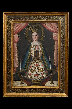 Devotional Madonna 18th Century Primitive Style Painting on Copper