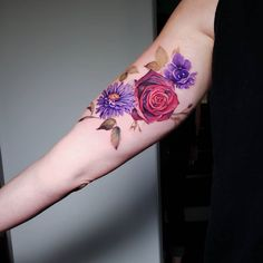 "Philly Pete (@petezebley) posted on Instagram: ""Tough spot, but you sat great Jen! (African violet, aster and rose)"" • Aug 19, 2020 at 10:30pm UTC African Violet, Aster, Watercolor Tattoo, Tattoo Designs, Ink, Tattoos, Rose, Instagram, Ideas"